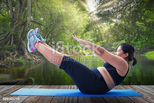 istock asian fat woman take v shape six pack course 599463716