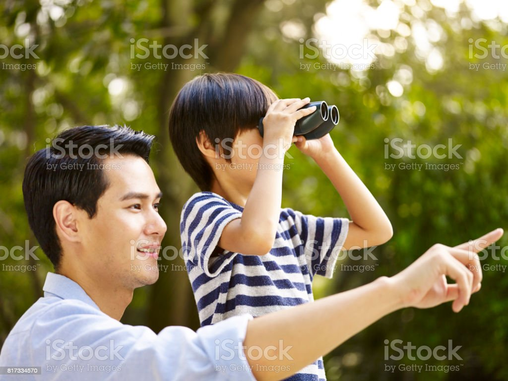 asian father and son stock photo