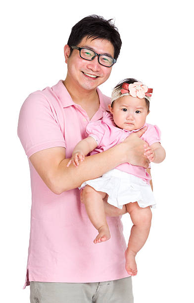 Asian father with daughter Asian father with daughter stay at home father stock pictures, royalty-free photos & images