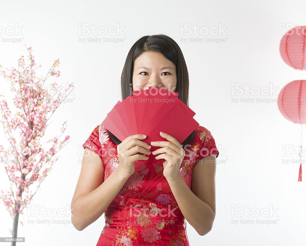 asian female celebrating chinese new year royalty-free stock photo