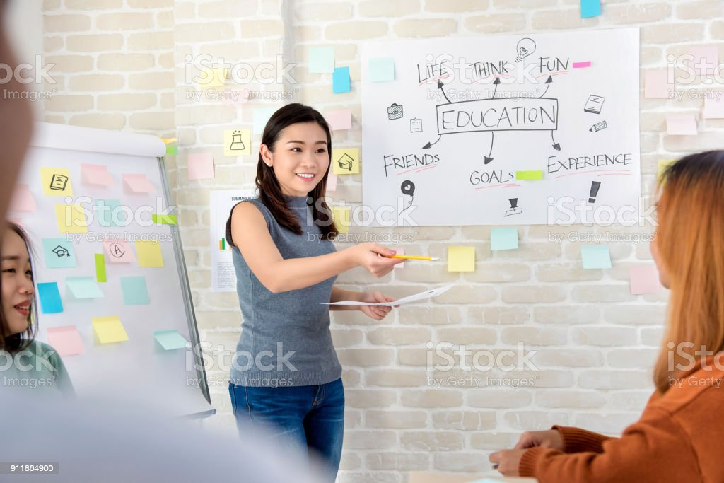 Asian female college student making a presentation in classroom stock photo