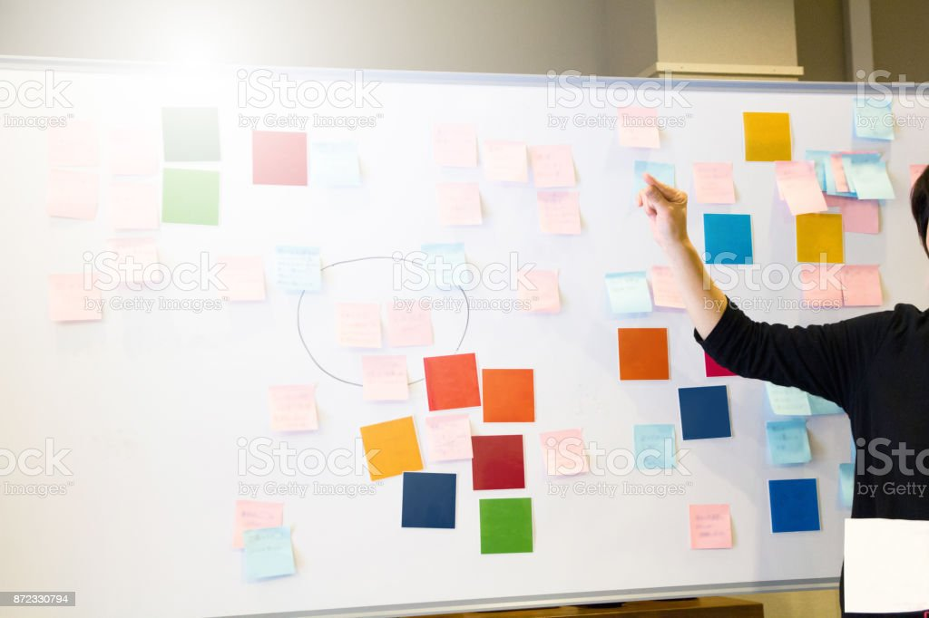 Asian female executive brainstorming with adhesive note stock photo