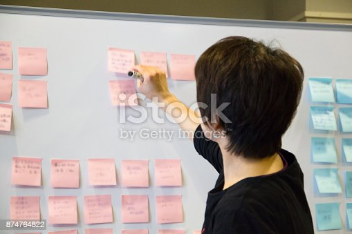 497451790 istock photo Asian female executive brainstorming with employees. 874764822