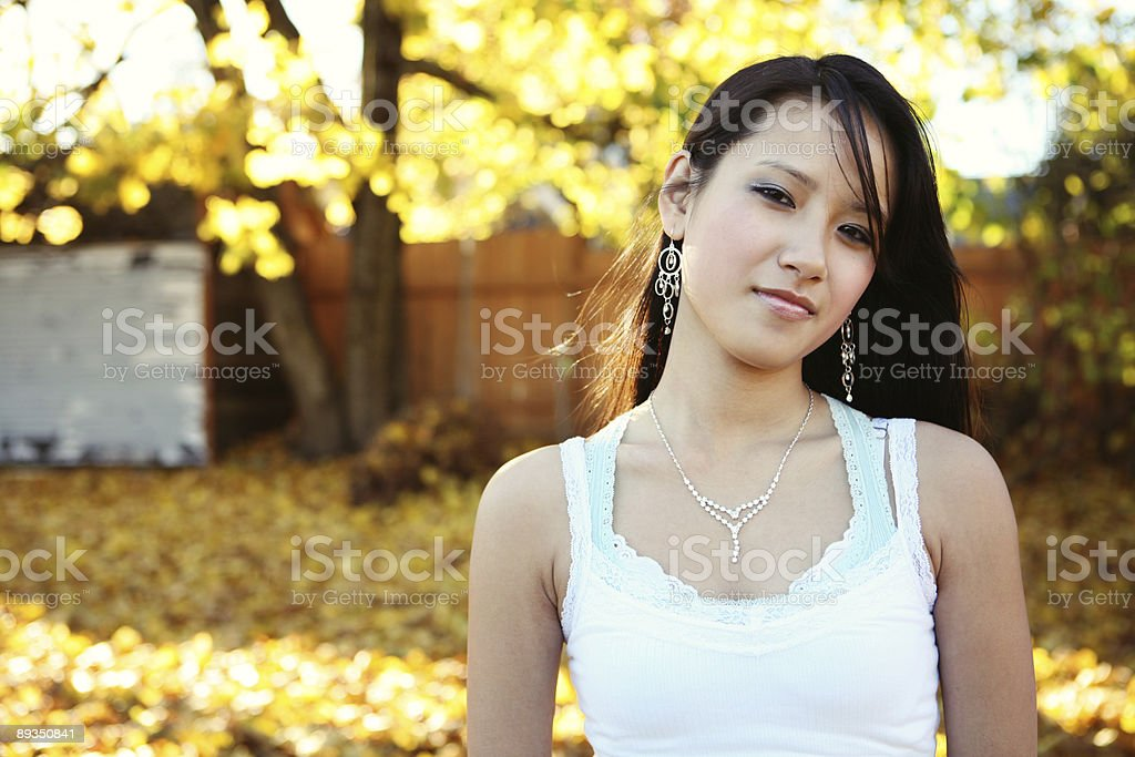 Asian Female Fall Portrait royalty-free stock photo