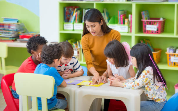 Asian female teacher teaching mixed race kids reading book in classroom,Kindergarten pre school concept. stock photo