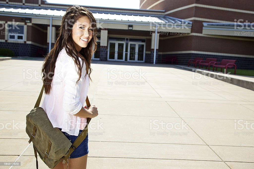 asian female teen at highschool entrance royalty-free stock photo