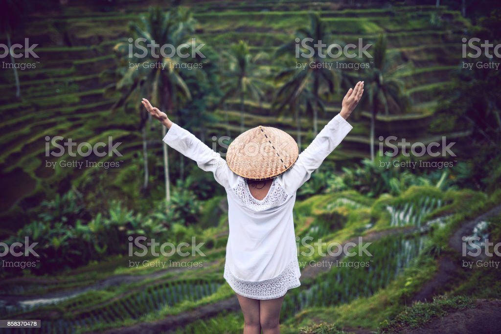 Asian Female with Traditional Straw and Raised Hands at Rice Fields stock photo
