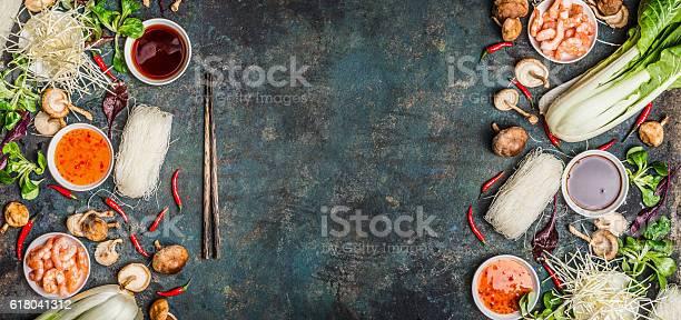 Foto de Asian Food Background With Various Of Cooking Ingredients e mais fotos de stock de Alimentação Saudável