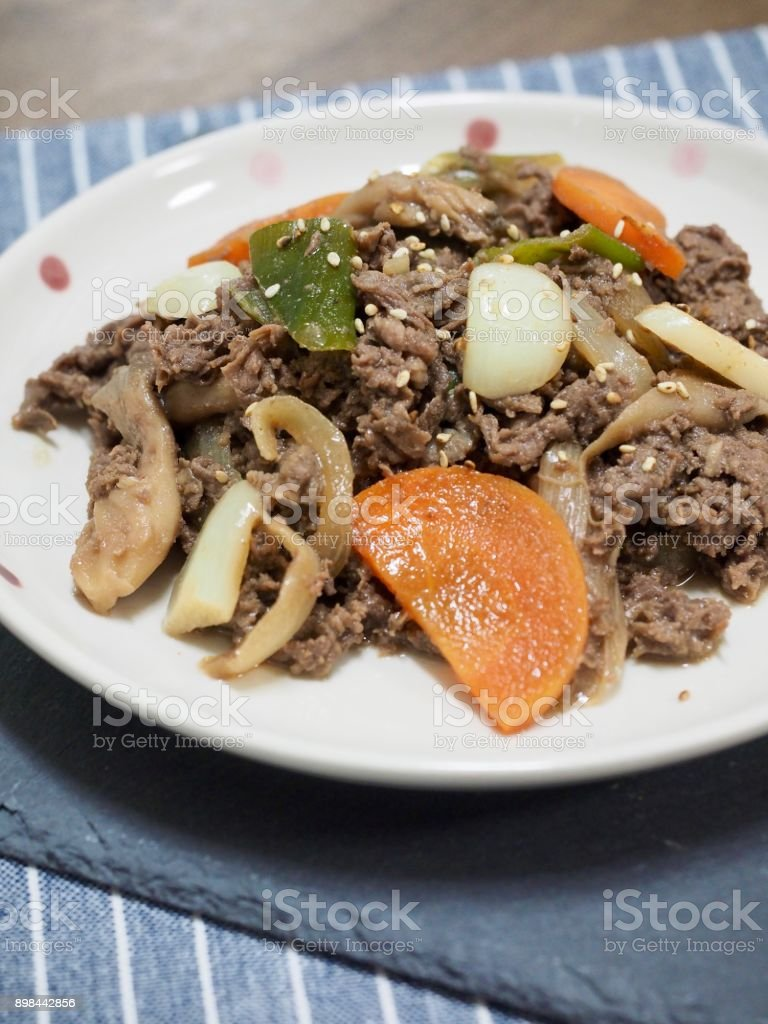 Asian food Bulgogi stock photo
