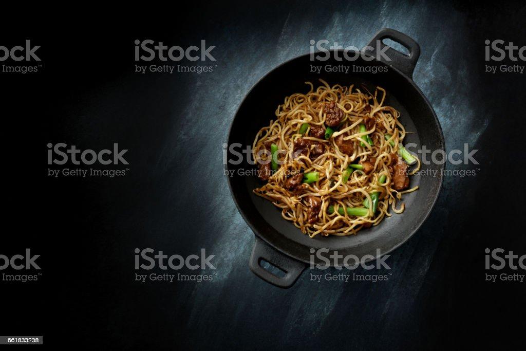 Asian Food: Chicken Teriyaki and Noodles Still Life stock photo