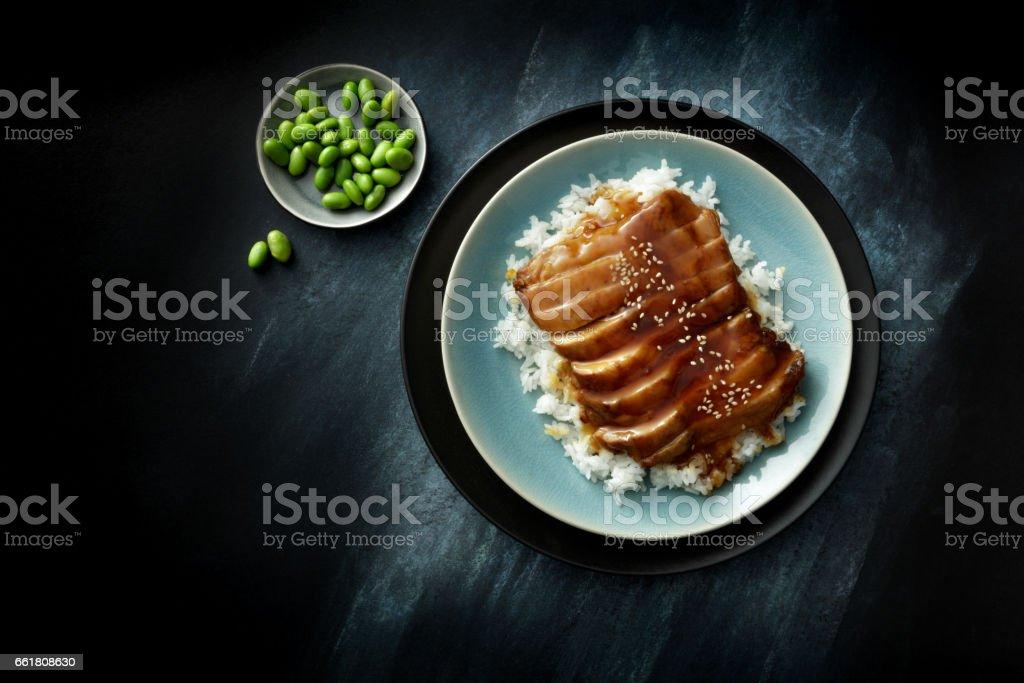 Asian Food: Chicken Terriyaki Still Life stock photo