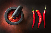 Asian Food: Chili Sauce and Red Chili Peppers Still Life