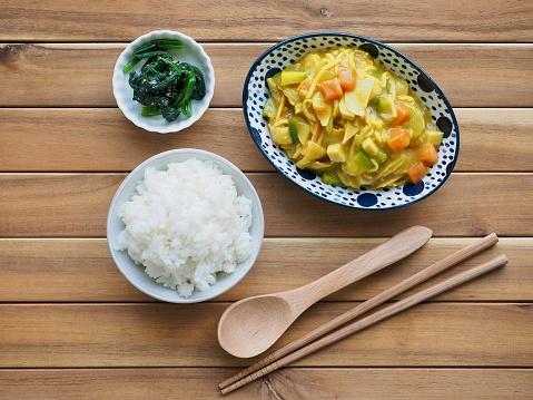 Aziatisch Eten Kerrie Rijst Stockfoto en meer beelden van Avondmaaltijd