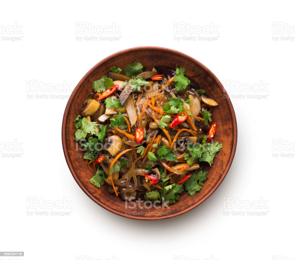 Asian food in a bowl isolated at white background stock photo
