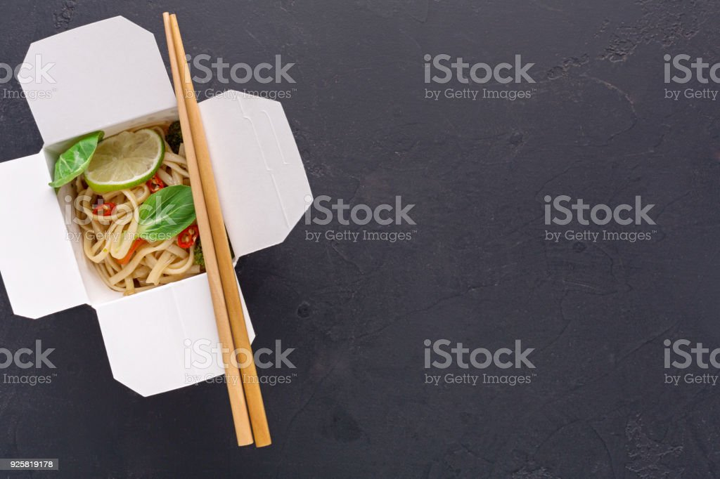 Asian Food In Delivery Box On Gray Background Stock Photo More