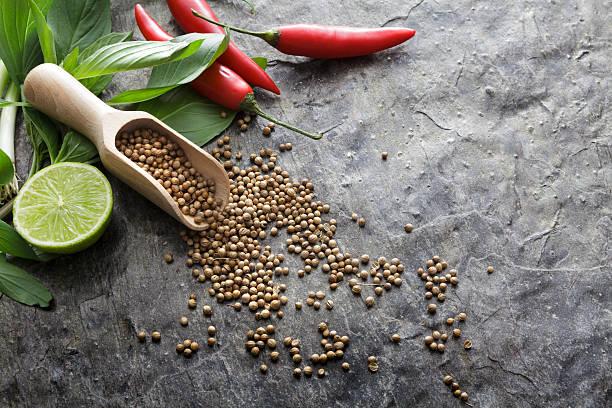 asian food: ingredients for asian cooking still life - ocimum tenuiflorum stock-fotos und bilder