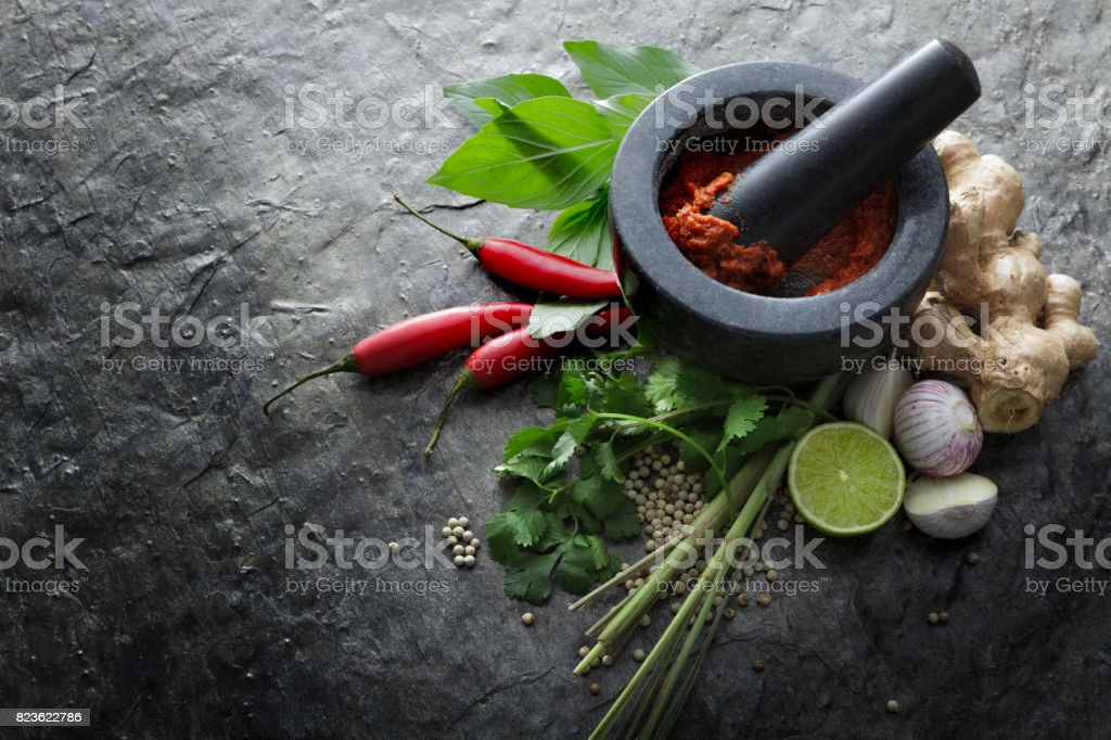 Asian Food: Ingredients for Thai Red Curry Still Life stock photo