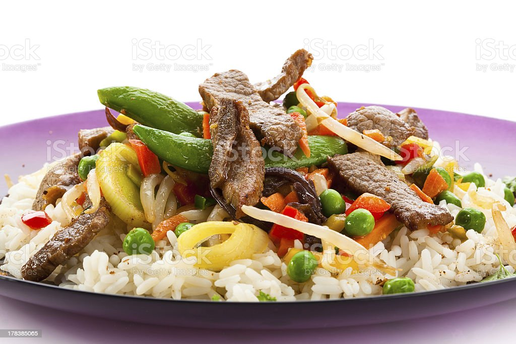 Asian food - roasted meat, rice and vegetables stock photo