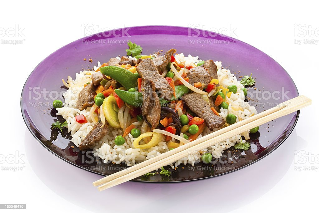 Asian food - roasted meat, rice and vegetables royalty-free stock photo