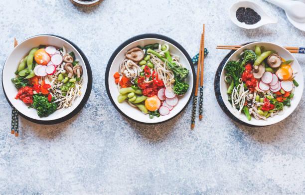 Asian food soba noodles vegetable chicken soup vegetable stock photo