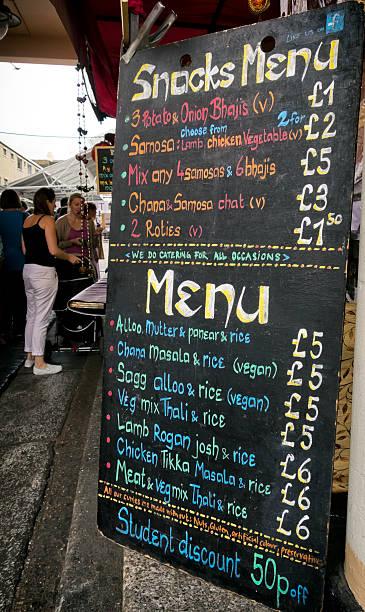 Asian food-Marktstand Menü-Tafel – Foto