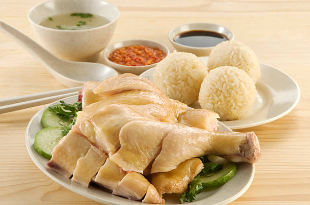 asian food- steam chicken and rice ball - chicken rice stock photos and pictures