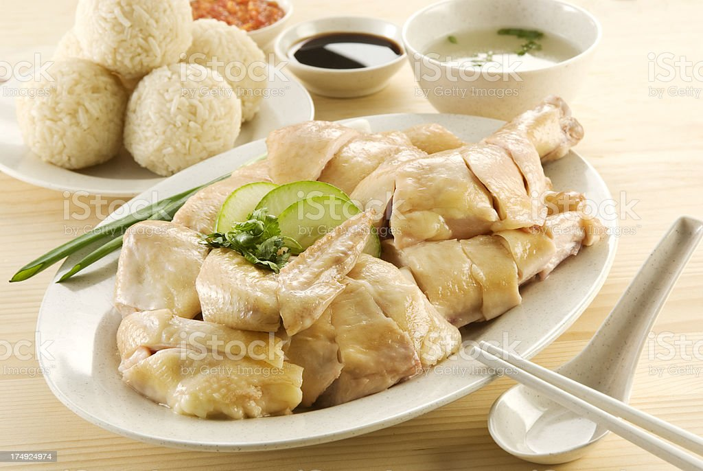 Asian Food- Steam Chicken and Rice ball royalty-free stock photo