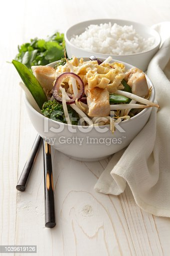Asian Food: Stir Fried Chicken, Egg and Vegetables  Still Life