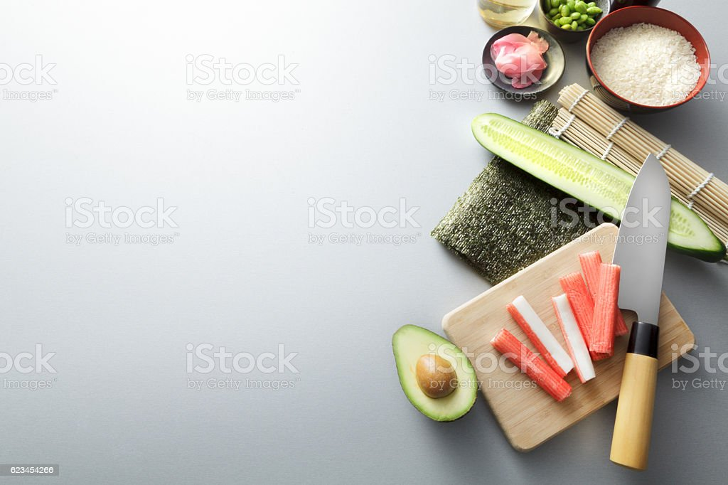 Asian Food: Sushi Ingredients Still Life stock photo