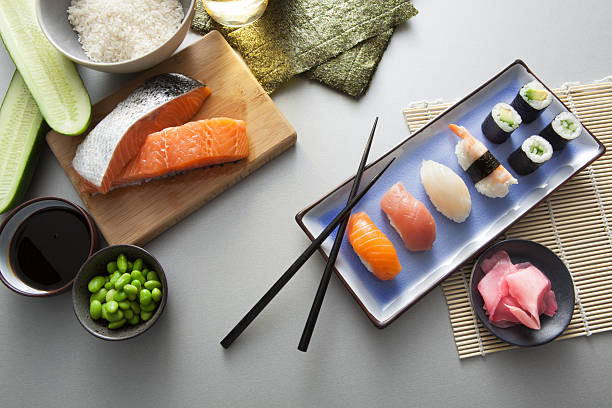 asian food: sushi still life - japanese food stock photos and pictures