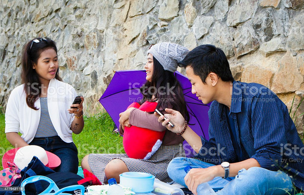 Asian Friends having picnic outdoor in the park stock photo
