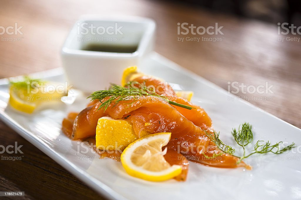 Asian Fusion Food, Salmon with spicy Sauce royalty-free stock photo