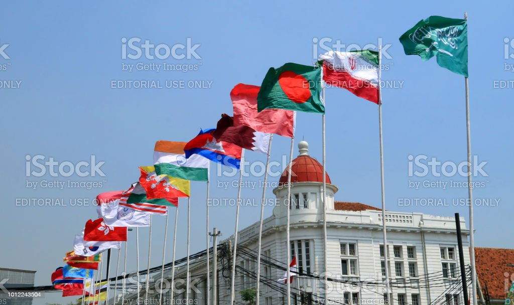Asian Games participants flags stock photo