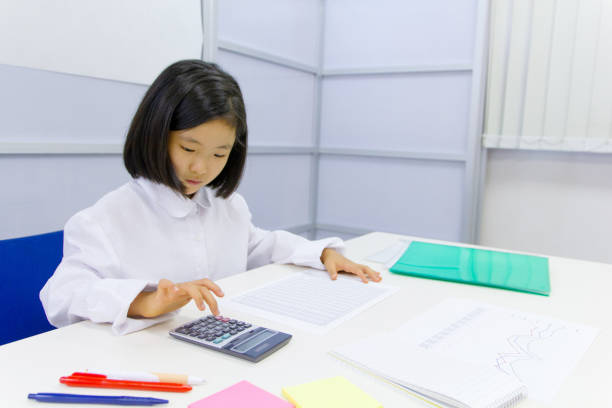 asian girl accountant working in office - 8 infographic stock photos and pictures