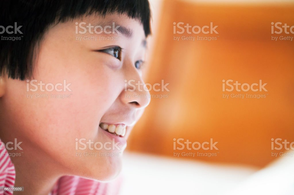 asian girl happy side view royalty-free stock photo