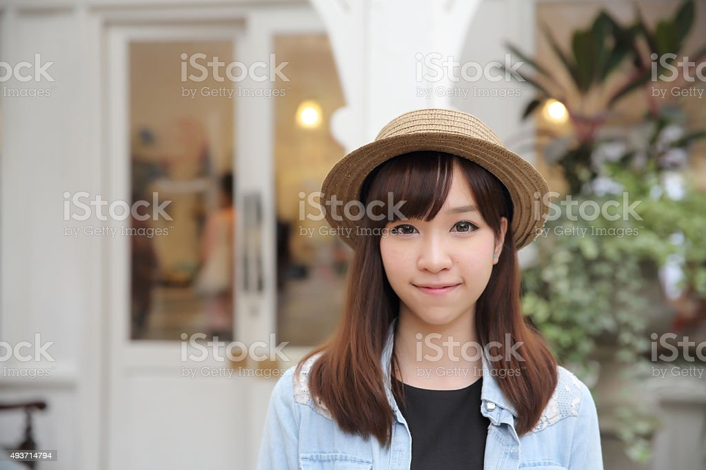 Asian girl in nature stock photo