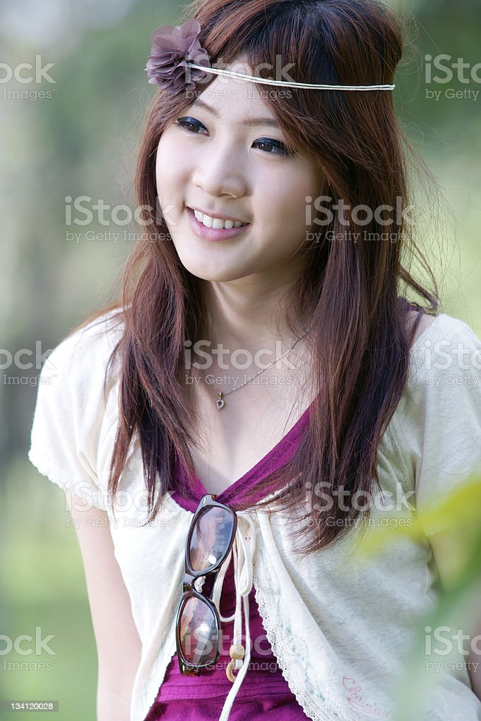 Asian girl in park royalty-free stock photo