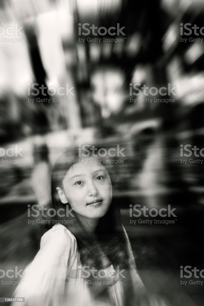 Asian girl inside the window royalty-free stock photo