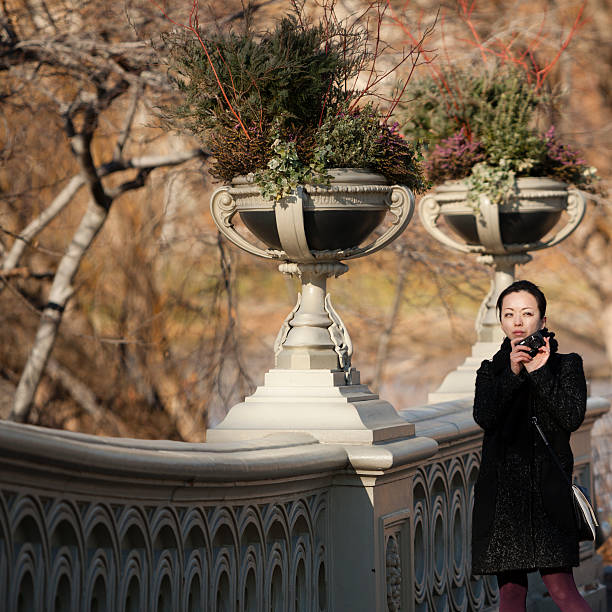 Asian girl make photography in Central Park stock photo