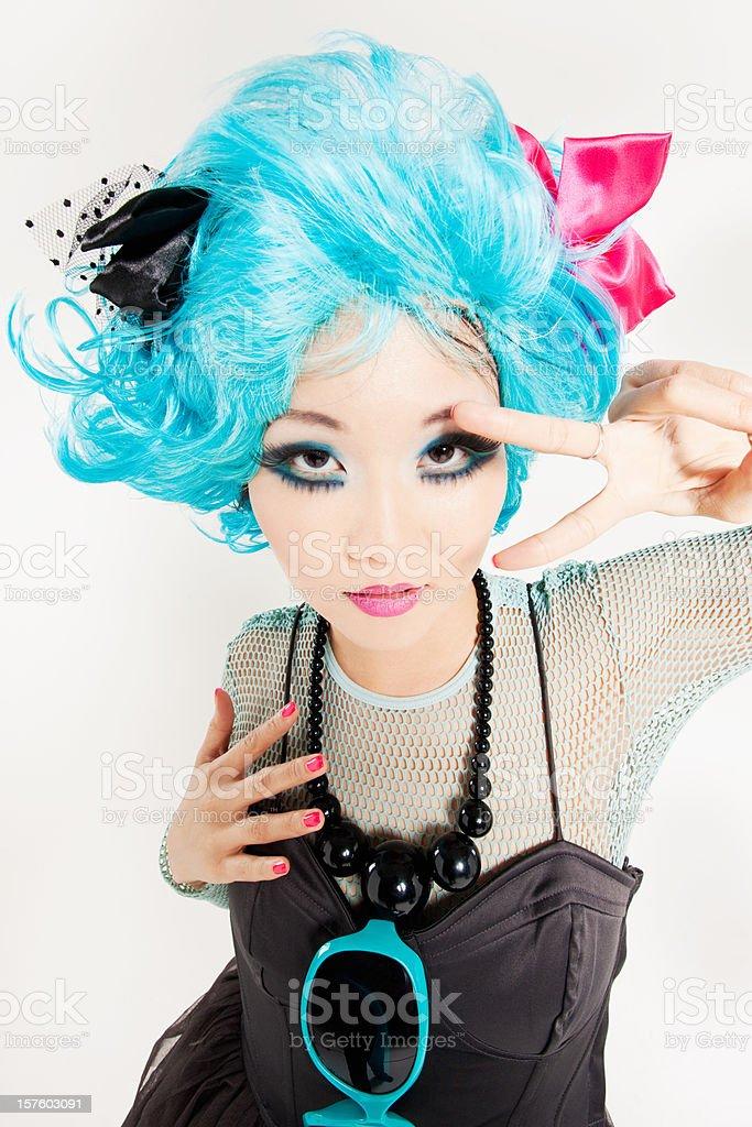 Asian Girl Manga Style Pulp Fiction Dance stock photo