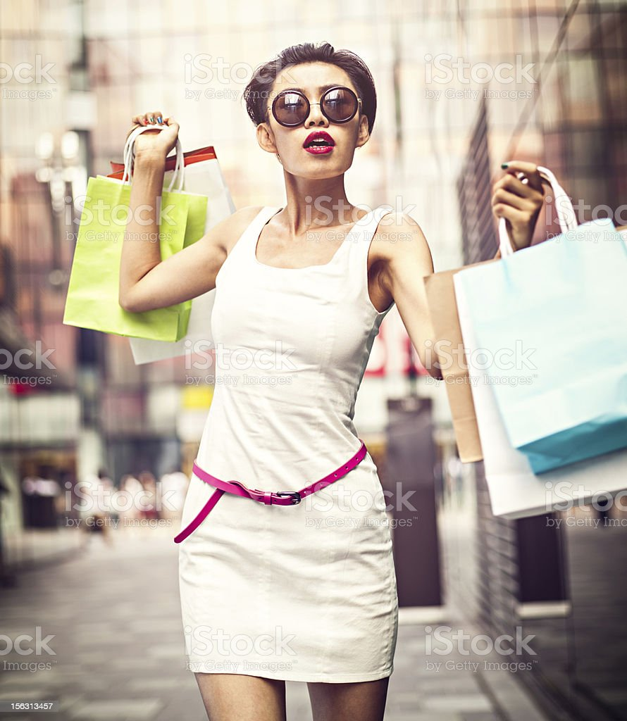 Asian girl shopping royalty-free stock photo
