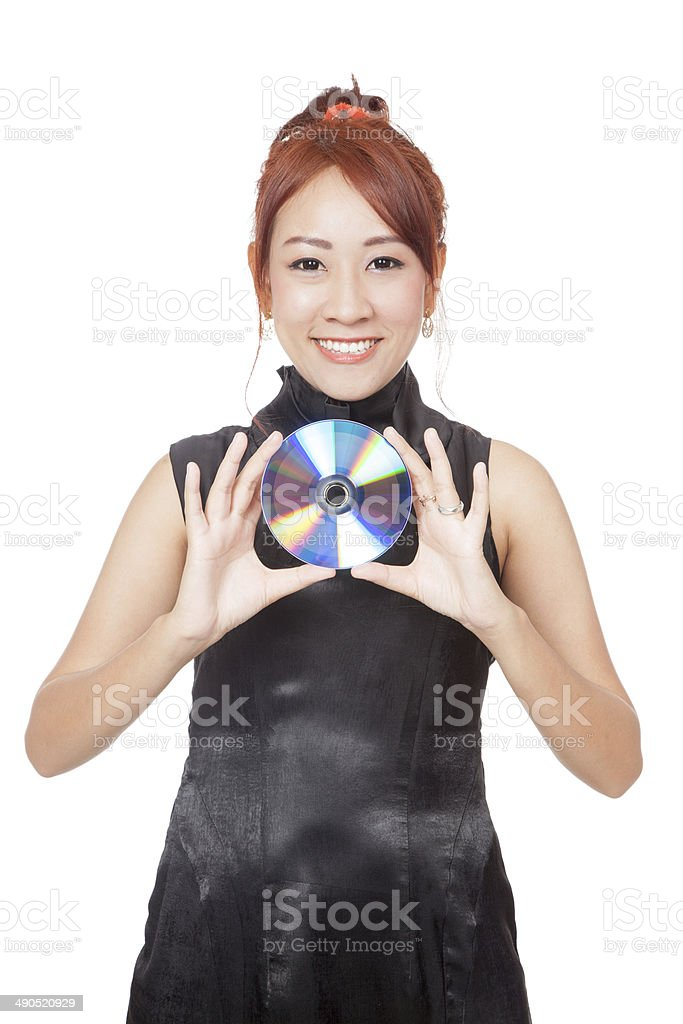 Asian girl show a  disc and smile stock photo
