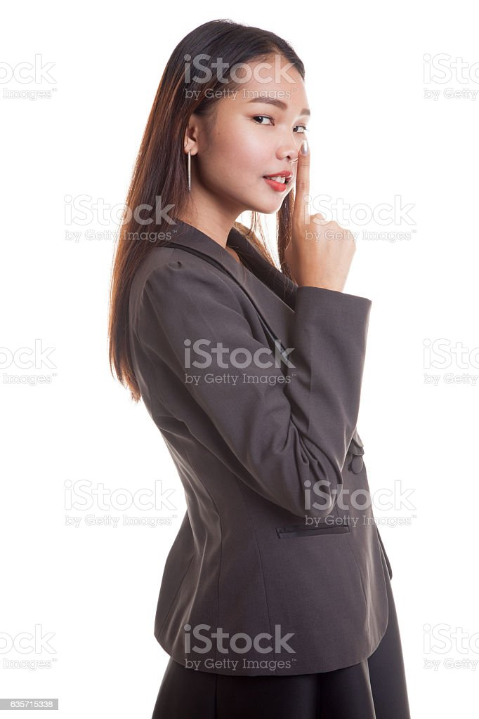 Asian girl show quite hand sign. royalty-free stock photo