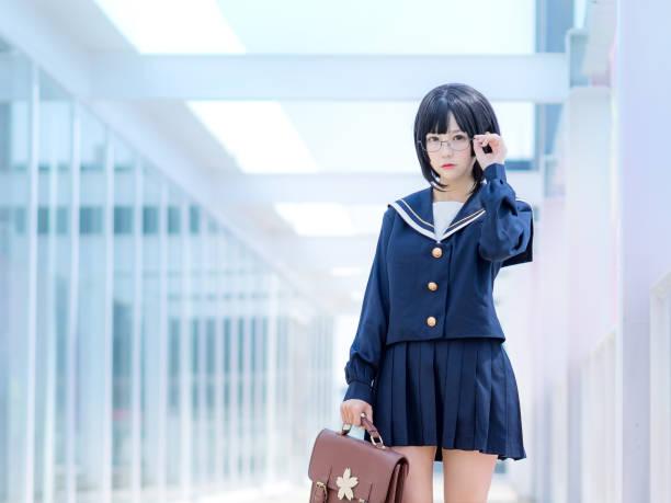 アジア女子生徒制服 - コスプレ ストックフォトと画像
