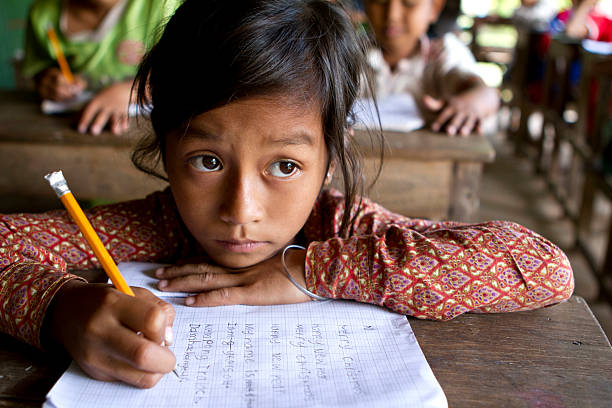 asian girl studying hard at school - thai culture stock photos and pictures