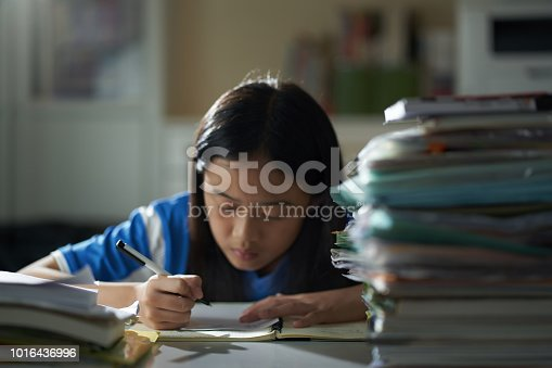 Asian girl studying hard