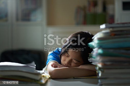 Asian girl studying hard