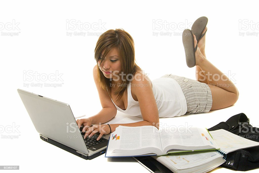 Asian Girl Studying royalty-free stock photo