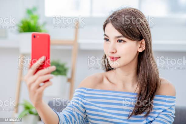 Asian Girl Use Biometric Access Stock Photo - Download Image Now