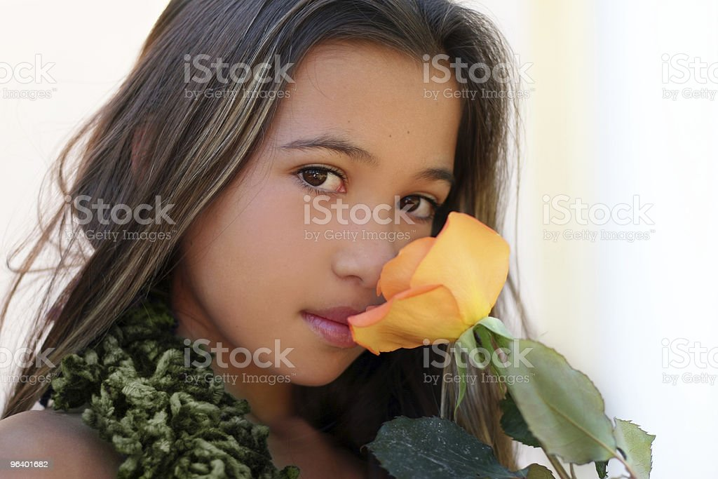 Asian girl with a rose royalty-free stock photo